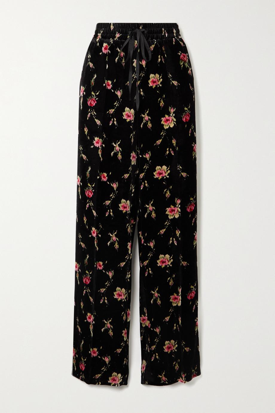 REDValentino Pantalon large en velours à imprimé fleuri