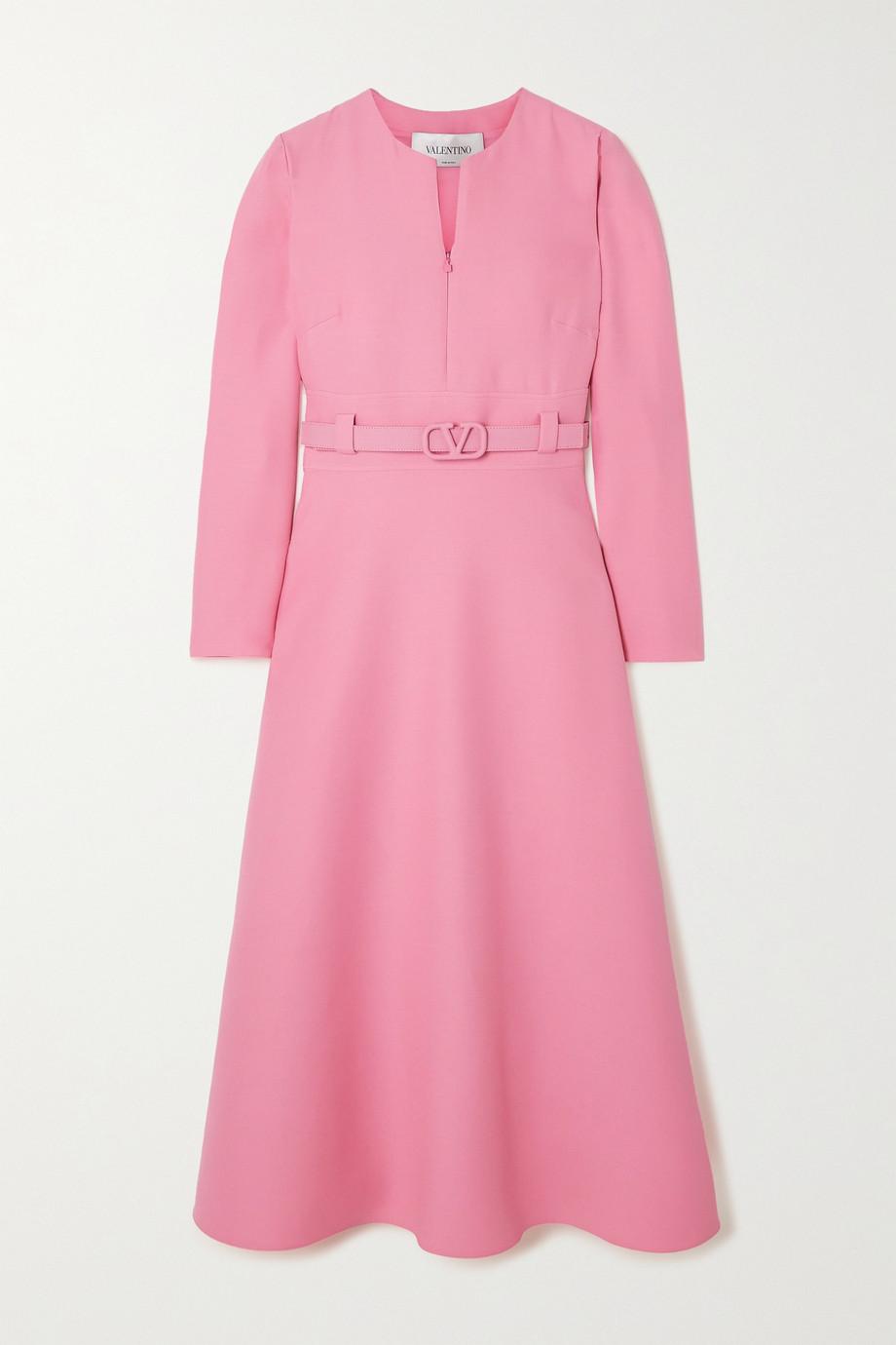 Valentino Kleid aus Crêpe aus einer Woll-Seidenmischung mit Gürtel