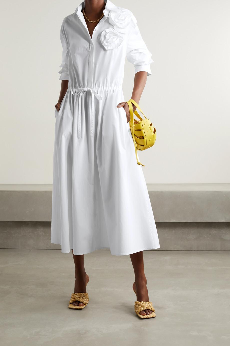 Valentino Appliquéd cotton-poplin midi shirt dress