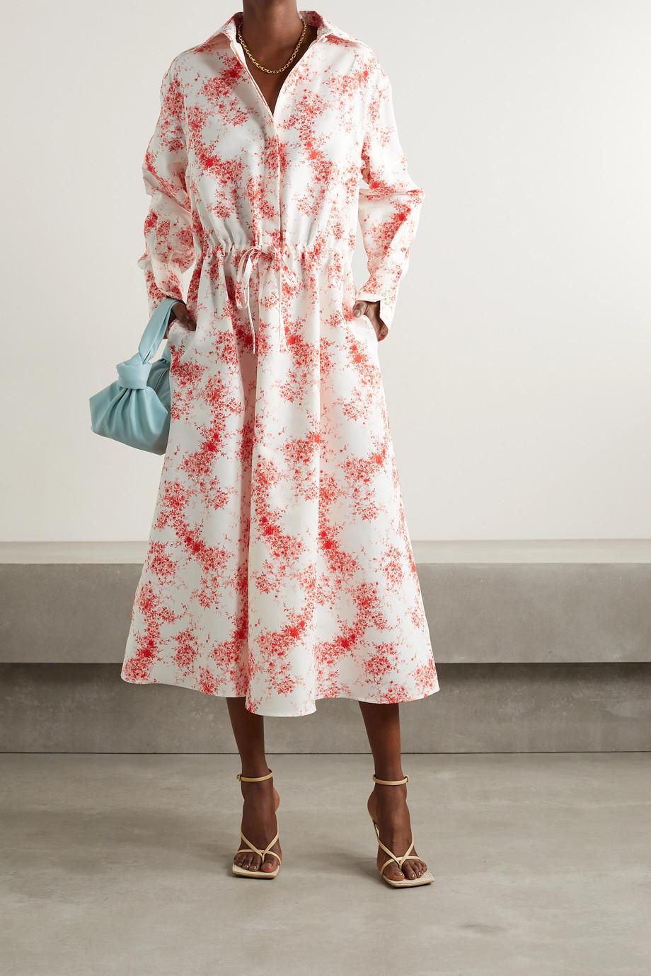 Valentino Robe-chemise midi en faille de coton et de soie mélangés à imprimé fleuri