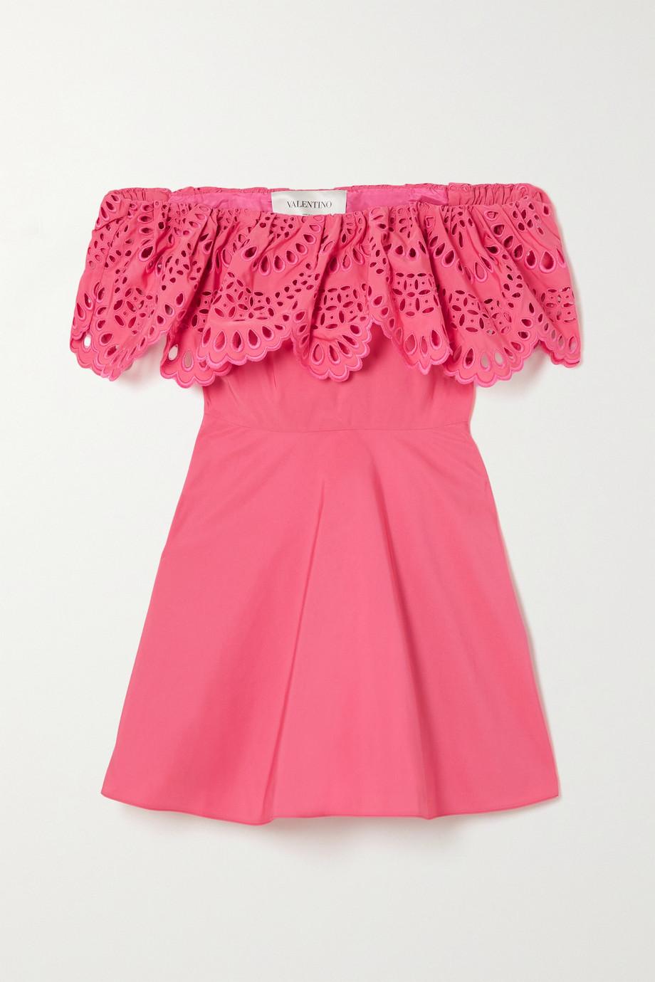 Valentino Mini-robe épaules nues en broderie anglaise de coton mélangé