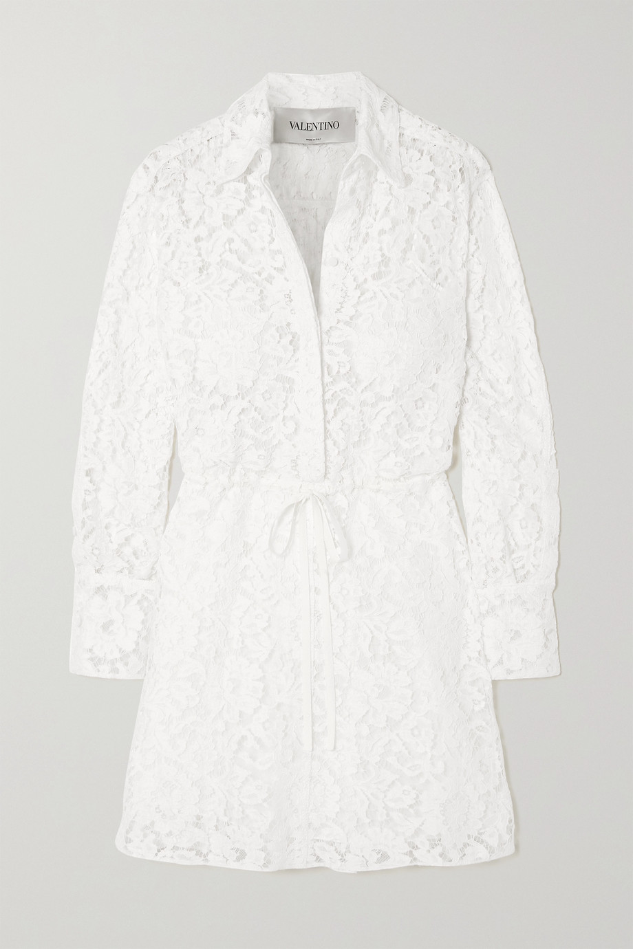 Valentino Mini-Hemdblusenkleid aus schnurgebundener Spitze