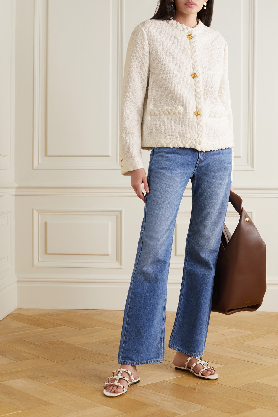 Valentino Veste en tweed bouclé de coton mélangé