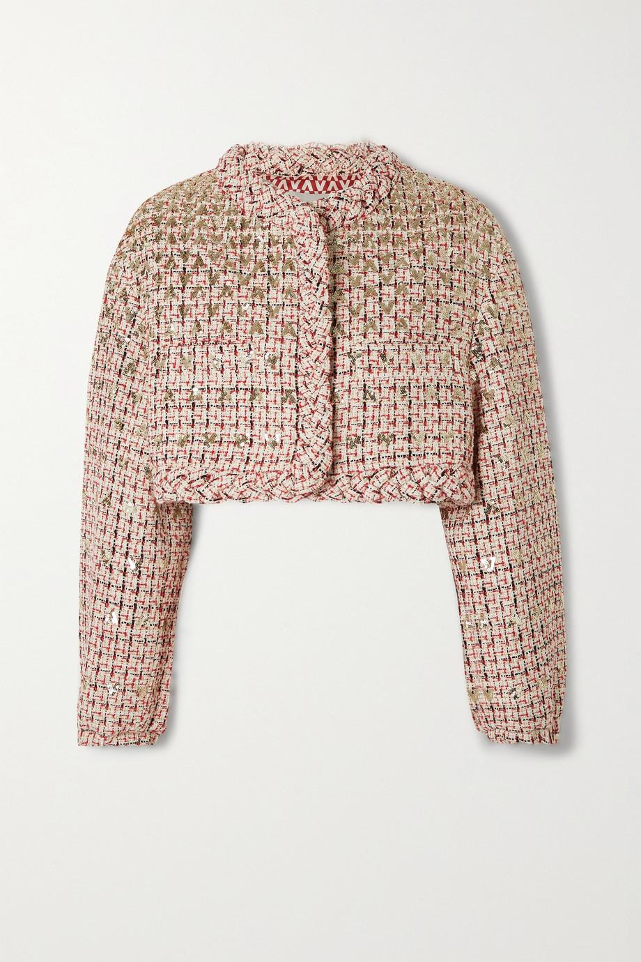 Valentino Sensation verkürzte Jacke aus Tweed aus einer Wollmischung in Metallic-Optik