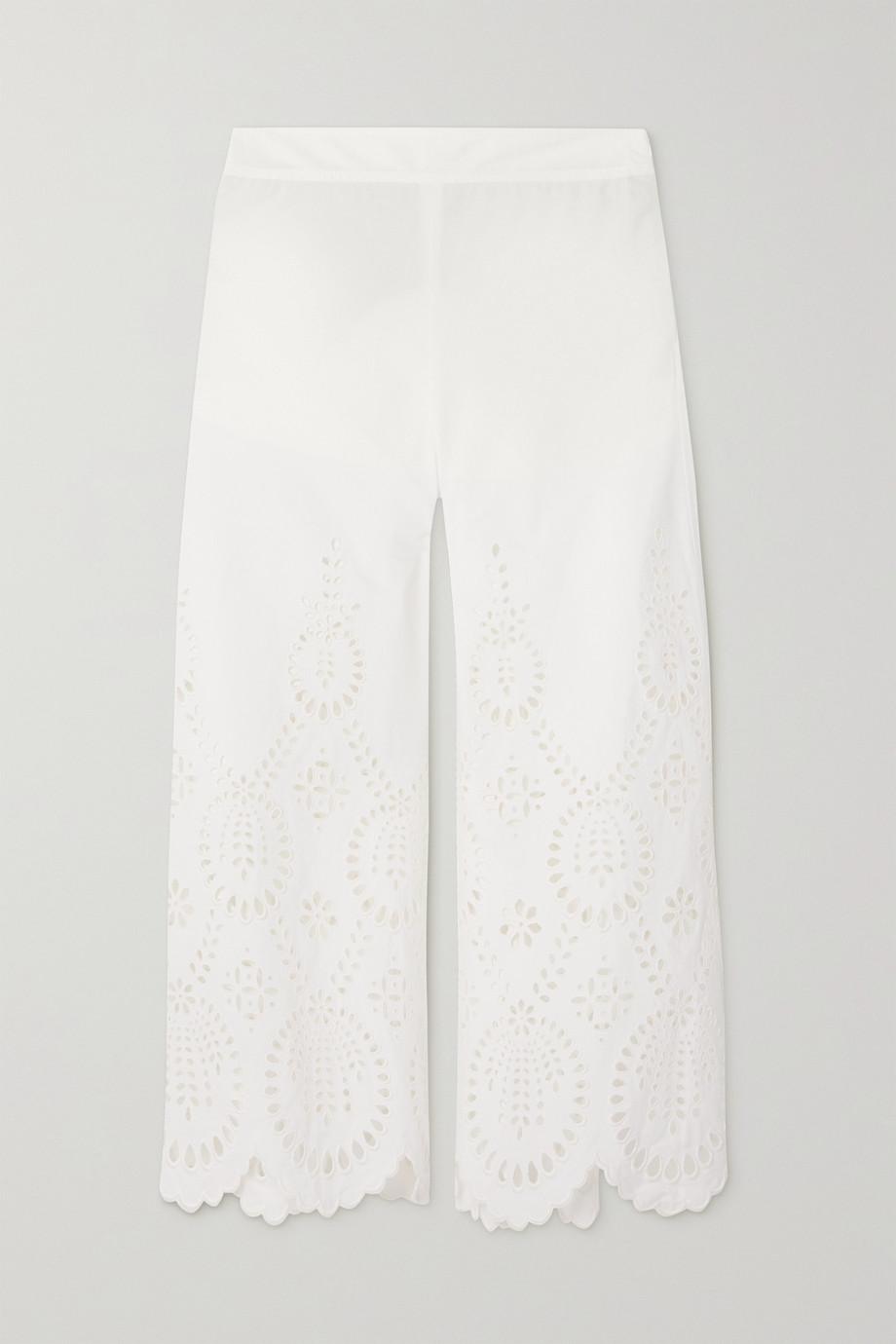 Valentino Pantalon large en broderie anglaise de popeline de coton