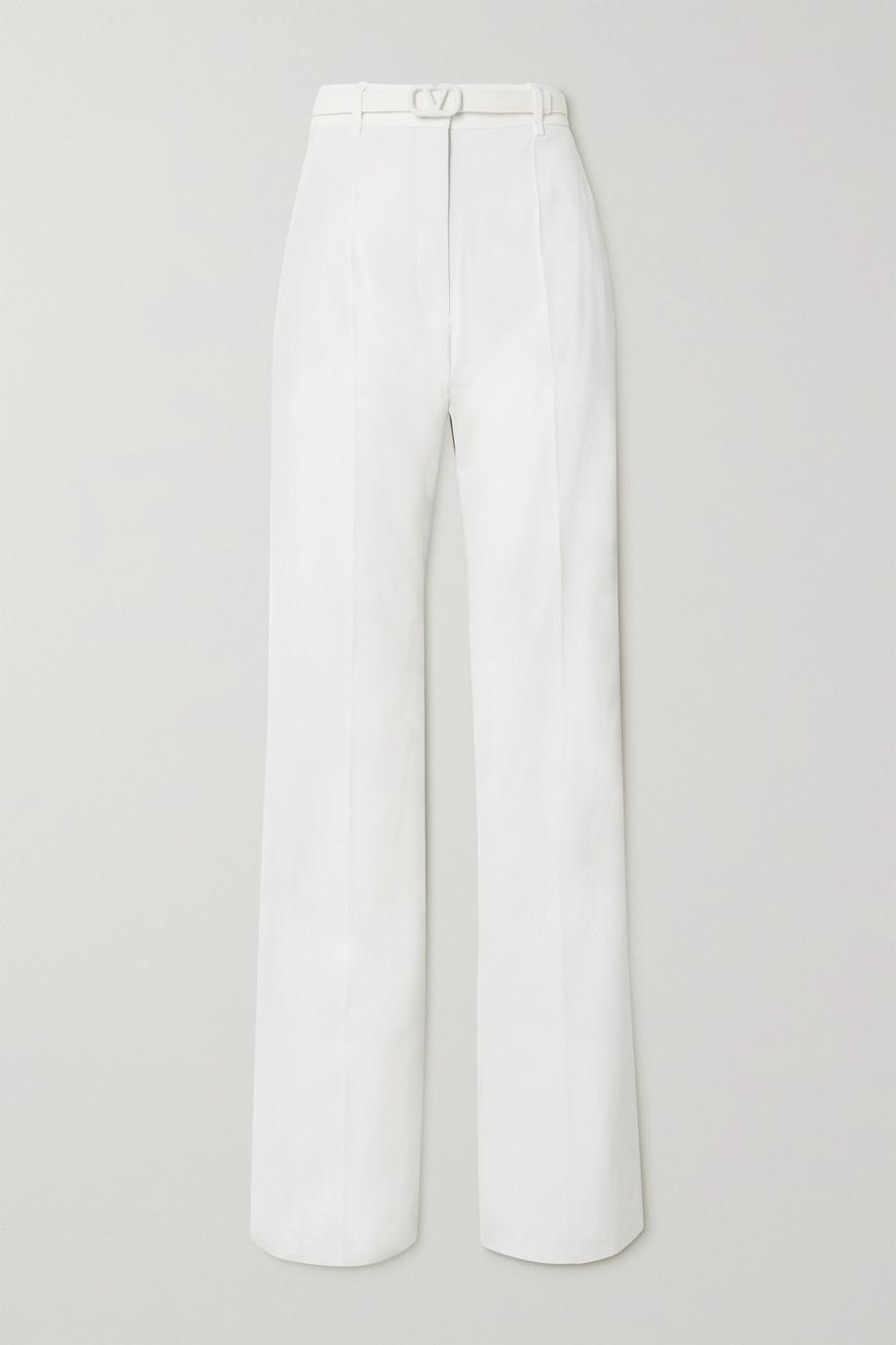 Valentino Pantalon droit en crêpe à ceinture VLOGO