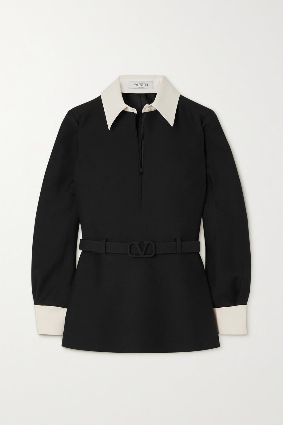 Valentino Zweifarbiges Hemd aus Crêpe aus einer Woll-Seidenmischung mit Gürtel