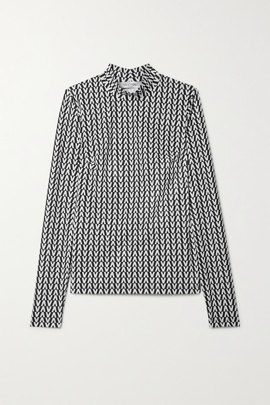 Valentino Haut à col montant en jersey stretch imprimé