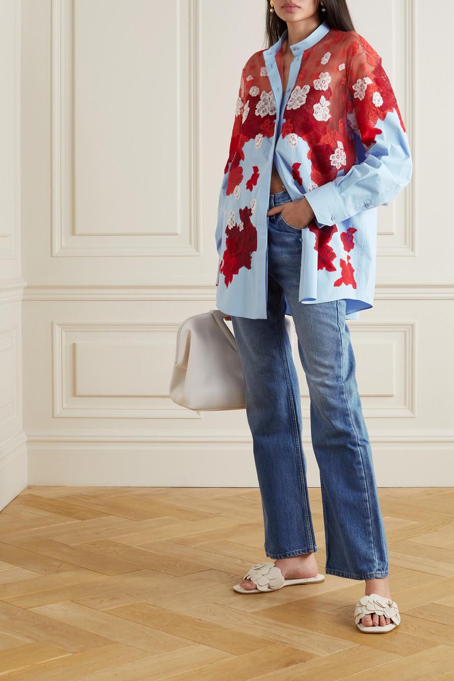 Valentino Chemise en popeline de coton et en dentelle Atelier Blossom Edition
