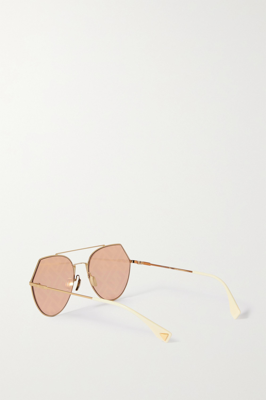 Fendi Aviator-style gold-tone metal sunglasses