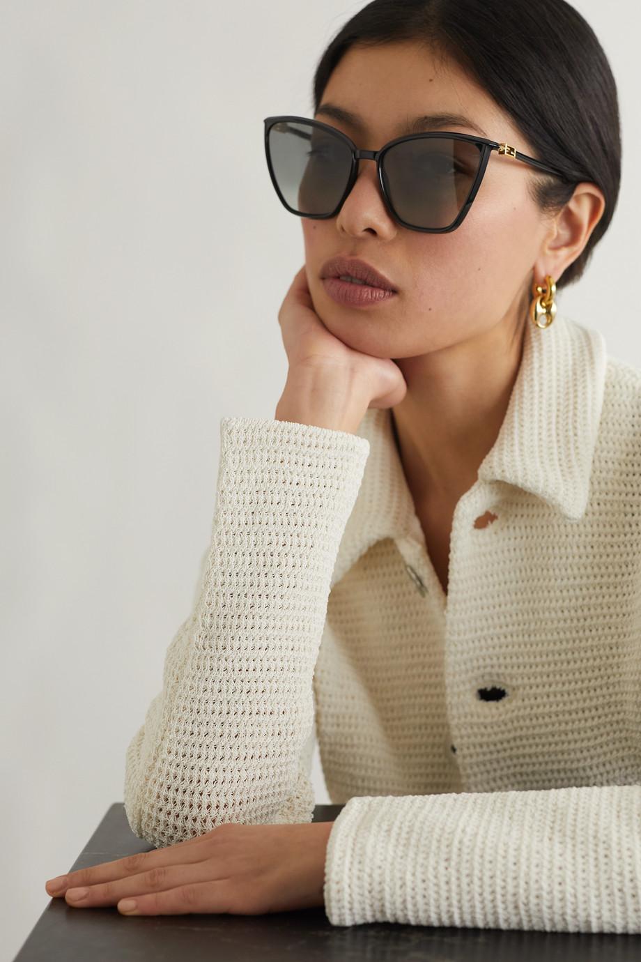 Fendi Cat-eye acetate and gold-tone sunglasses