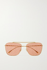 Fendi Aviator-style gold-tone metal sunglasses