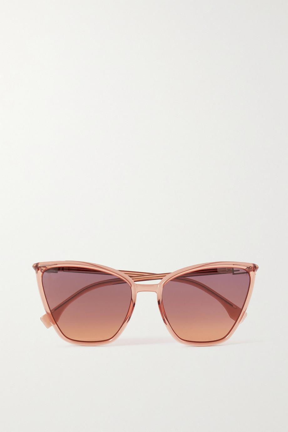 Fendi Oversized-Sonnenbrille mit Cat-Eye-Rahmen aus Azetat mit goldfarbenen Details