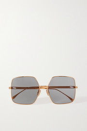 Fendi Oversized square-frame crystal-embellished gold-tone sunglasses