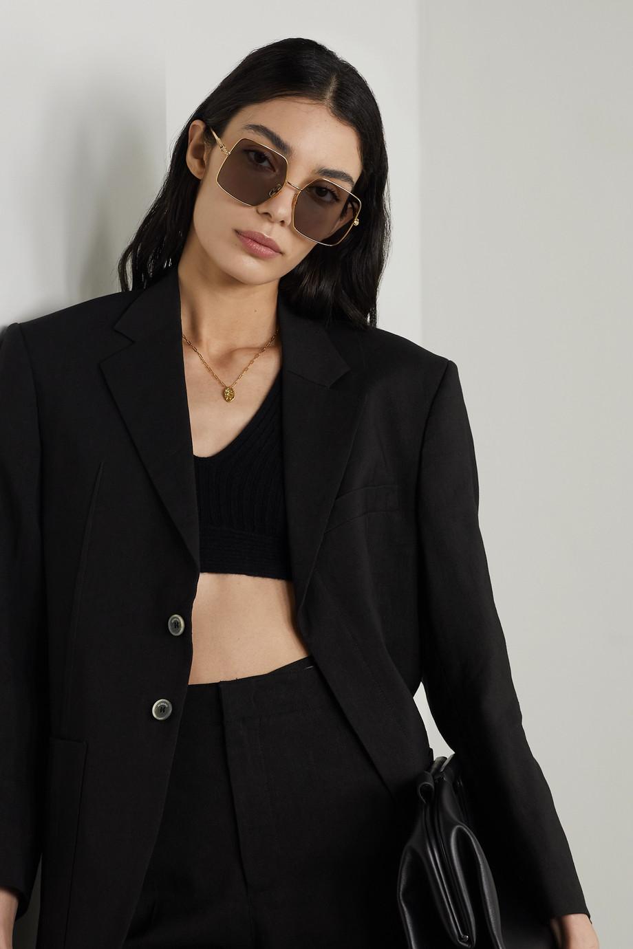 Fendi Oversized square-frame crystal-embellished gold-tone sunglasses