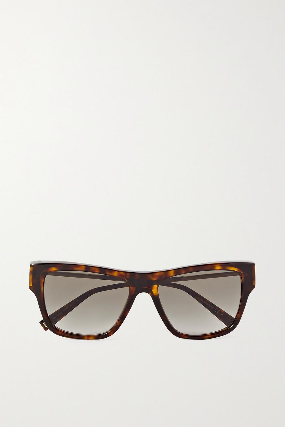 Givenchy Oversized D-frame tortoiseshell acetate and gold-tone sunglasses
