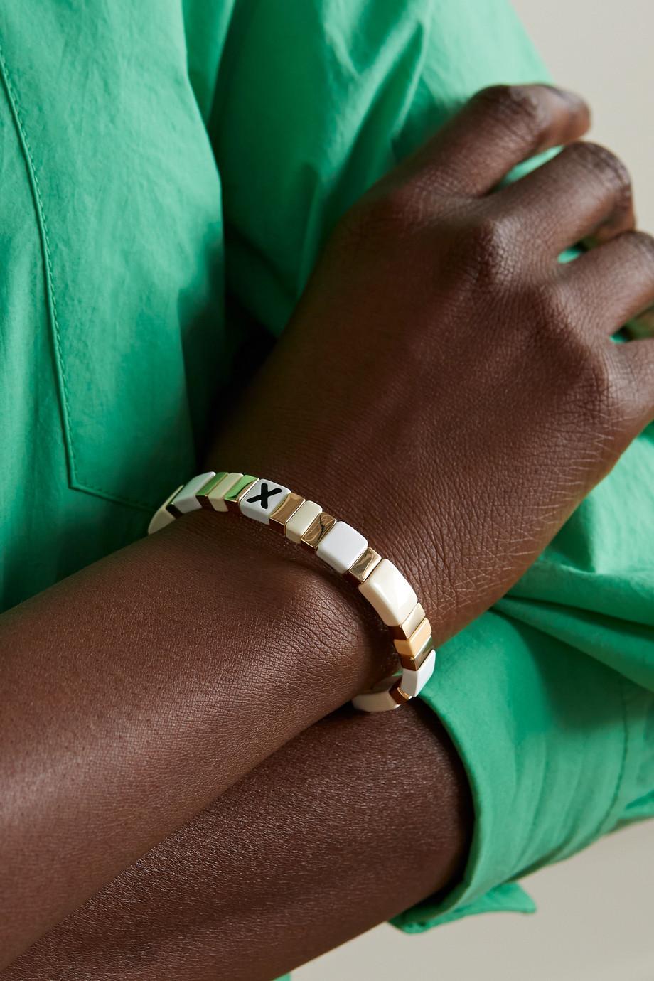 Roxanne Assoulin Neutral Alphabet Soup enamel and gold-tone bracelet