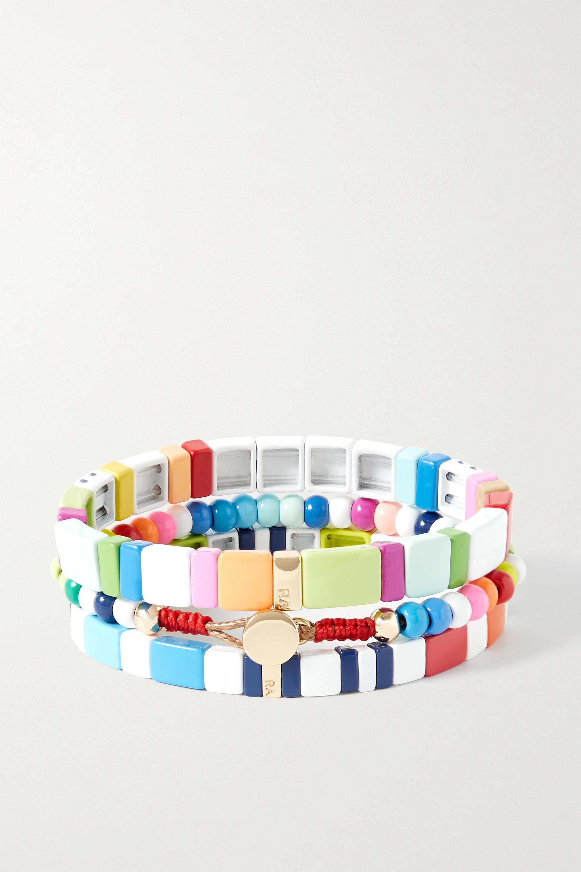 Roxanne Assoulin Set de trois bracelets en émail et métal doré Love Trio Brite