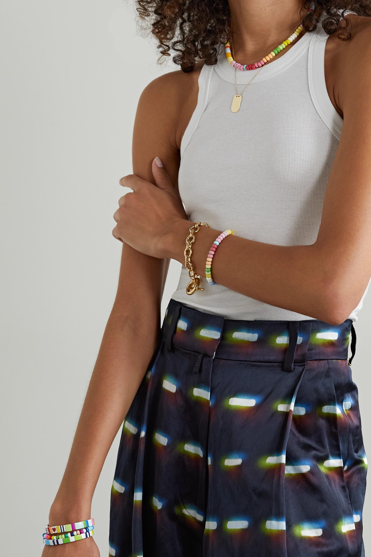 Roxanne Assoulin Parure collier et bracelet en émail et métal doré Loopy Lite Donut