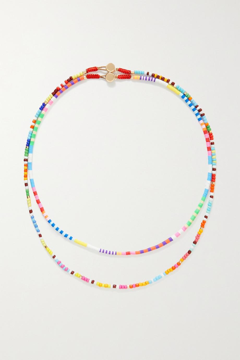 Roxanne Assoulin Technicolor Set aus zwei Ketten mit Emaille und goldfarbenen Details