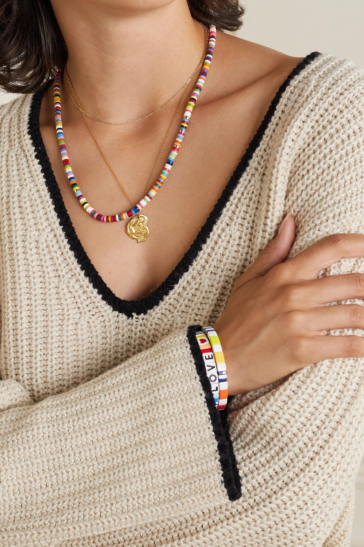 Roxanne Assoulin Kit pour collier en corde, émail et métal doré Heishi DIY