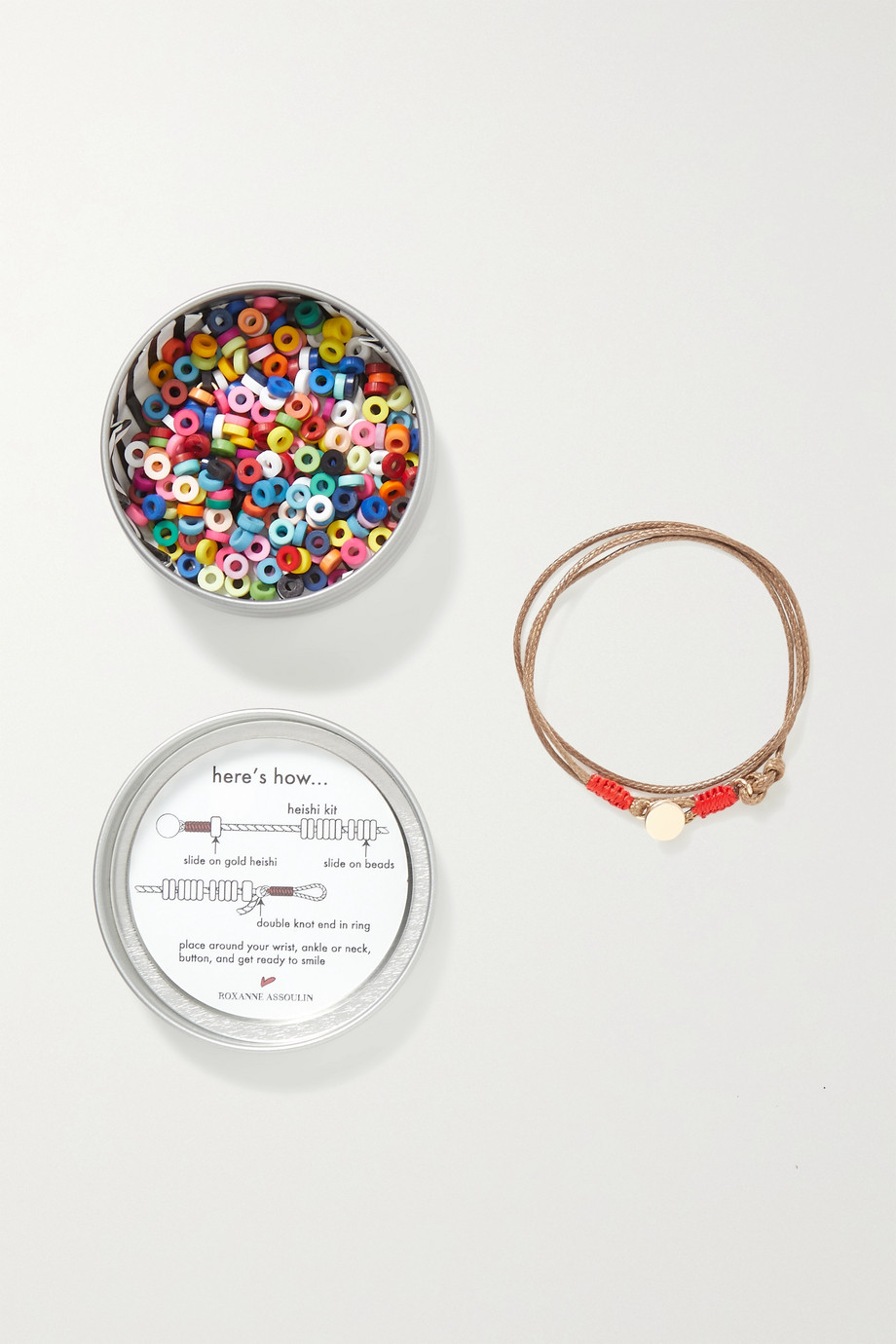 Roxanne Assoulin Heishi DIY cord, enamel and gold-tone necklace kit
