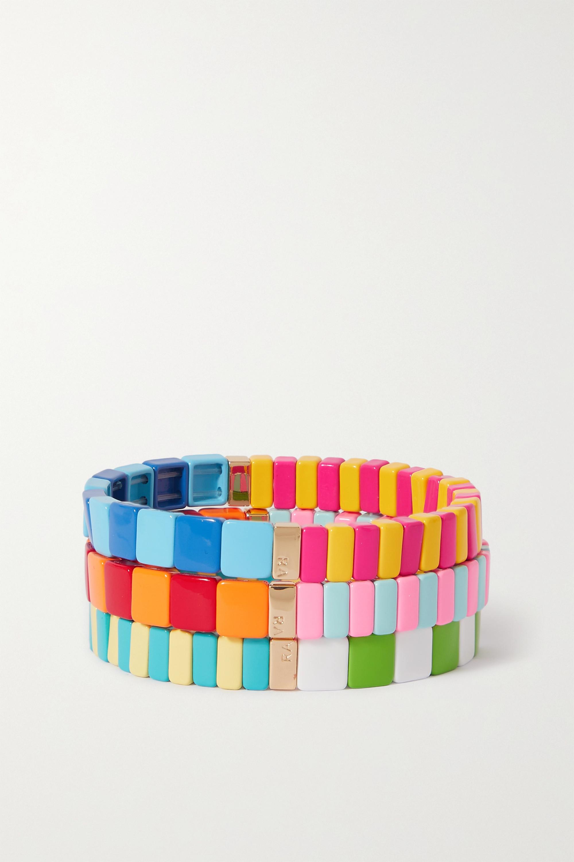 Roxanne Assoulin Set de trois bracelets en émail et métal doré Happy