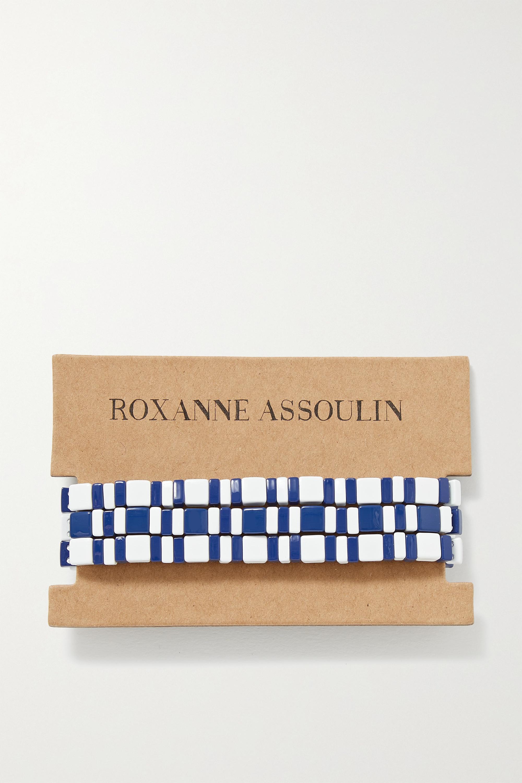 Roxanne Assoulin Set de trois bracelets en émail et en métal doré Summer Stripes