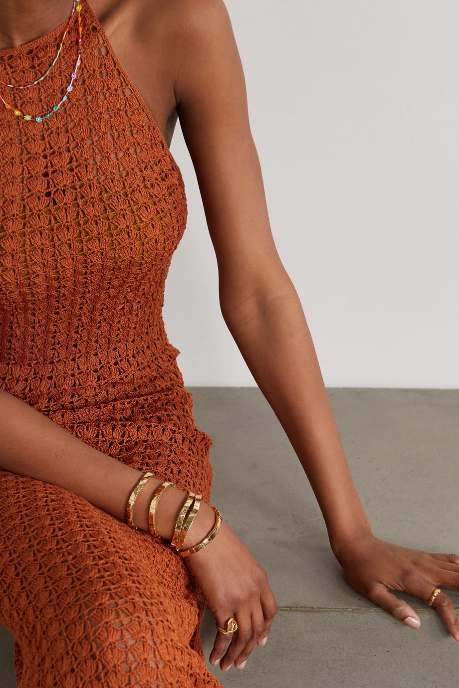 Roxanne Assoulin Set de cinq bracelets en métal doré Brick by Brick