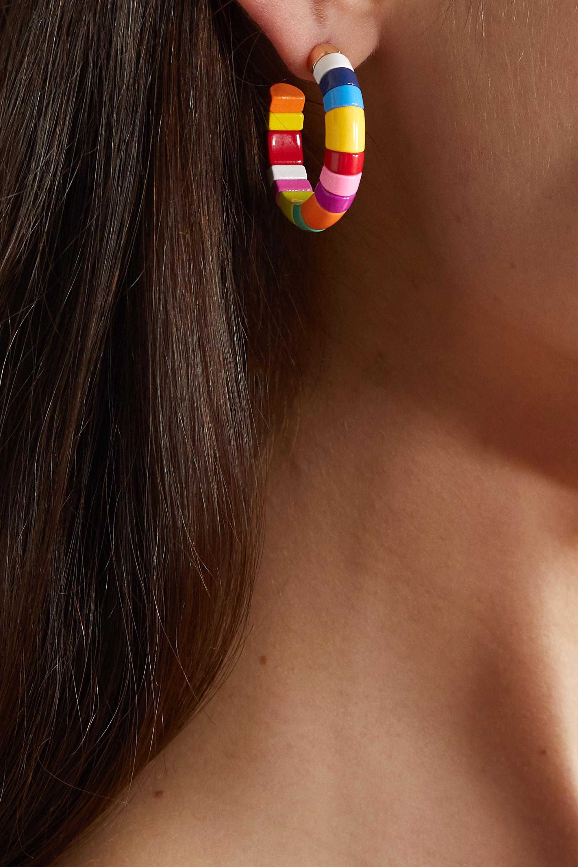 Roxanne Assoulin Boucles d'oreilles en métal doré et émail Half Pipe Mini