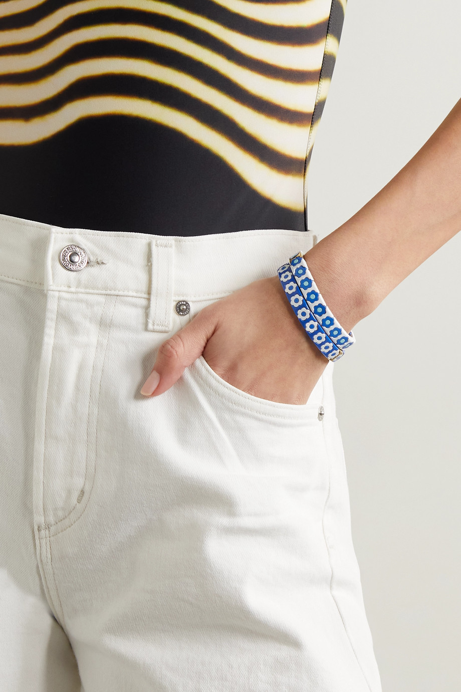 Roxanne Assoulin Set de bracelets en émail et métal doré Cornflower