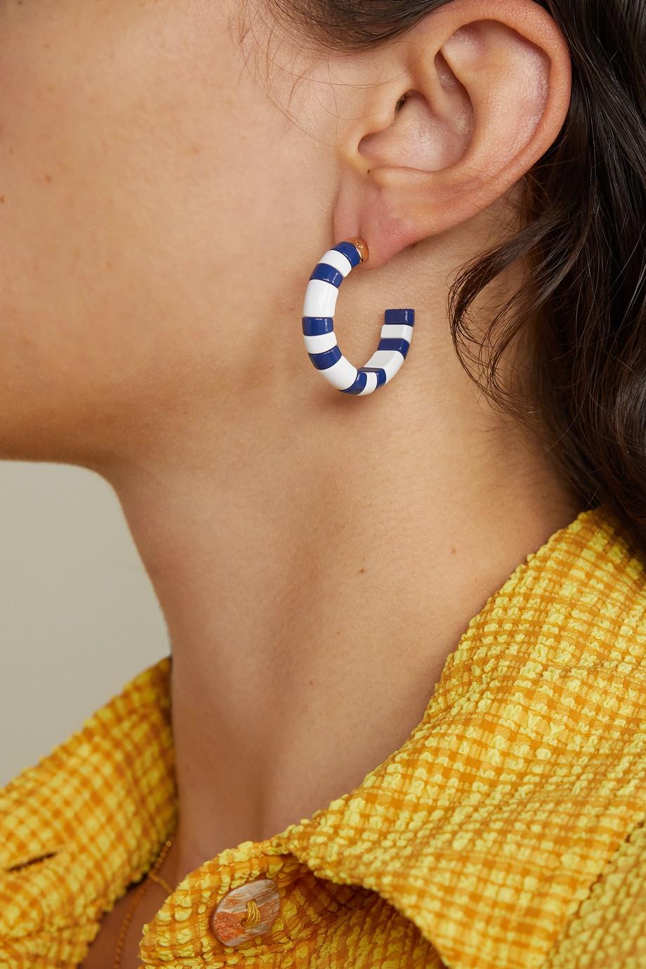 Roxanne Assoulin Boucles d'oreilles en métal doré et émail Summer Stripes