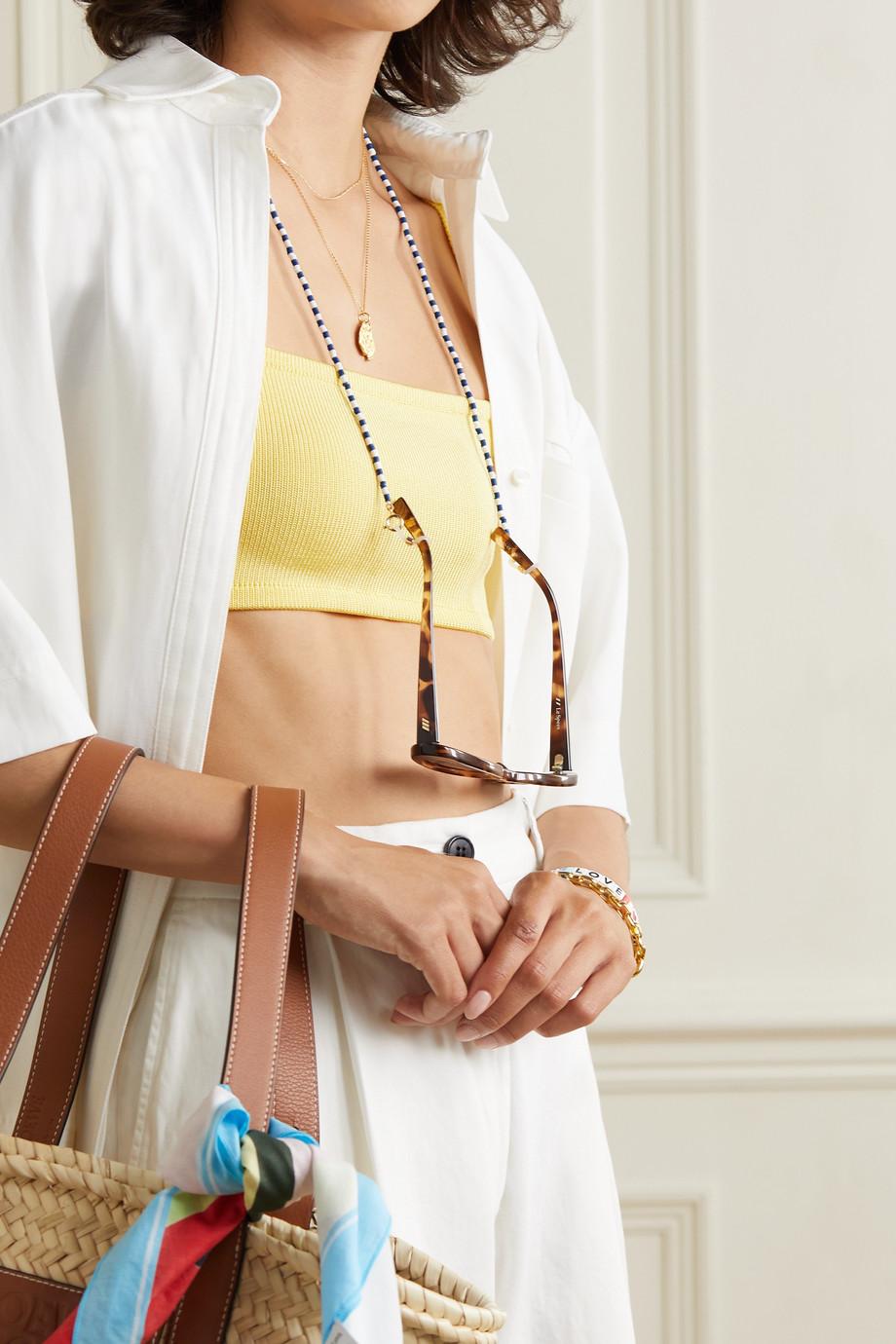 Roxanne Assoulin Chaîne pour lunettes de soleil en métal doré et émail Summer Stripes