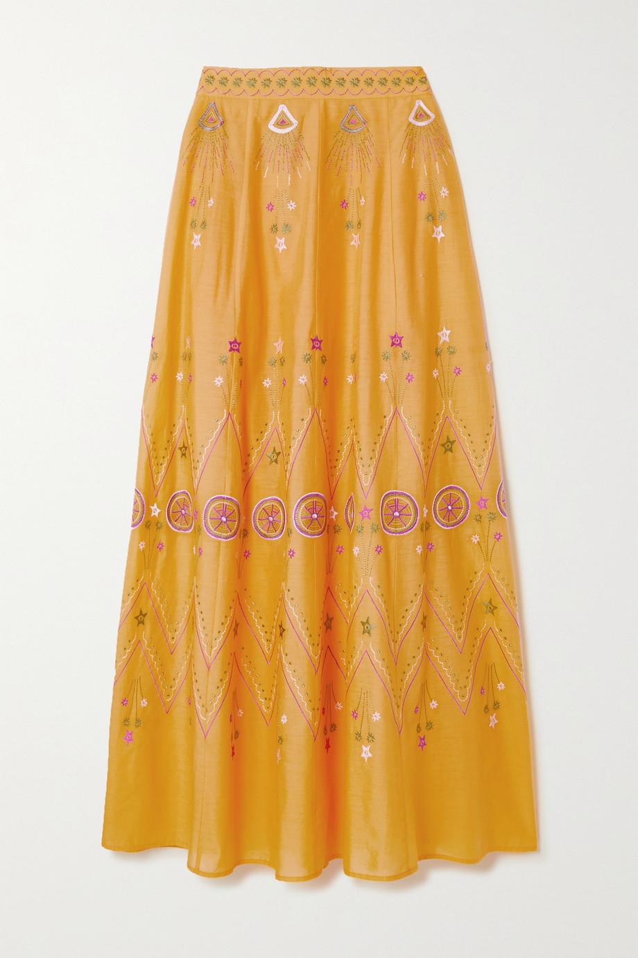 Le Sirenuse Positano Camille Stromboli embroidered cotton-voile maxi skirt