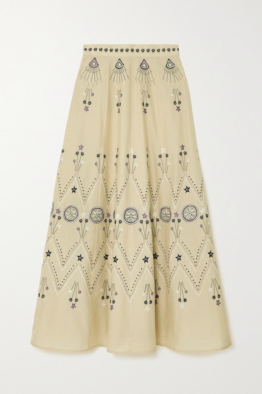 Le Sirenuse Positano Camille Stromboli embroidered cotton-poplin maxi skirt