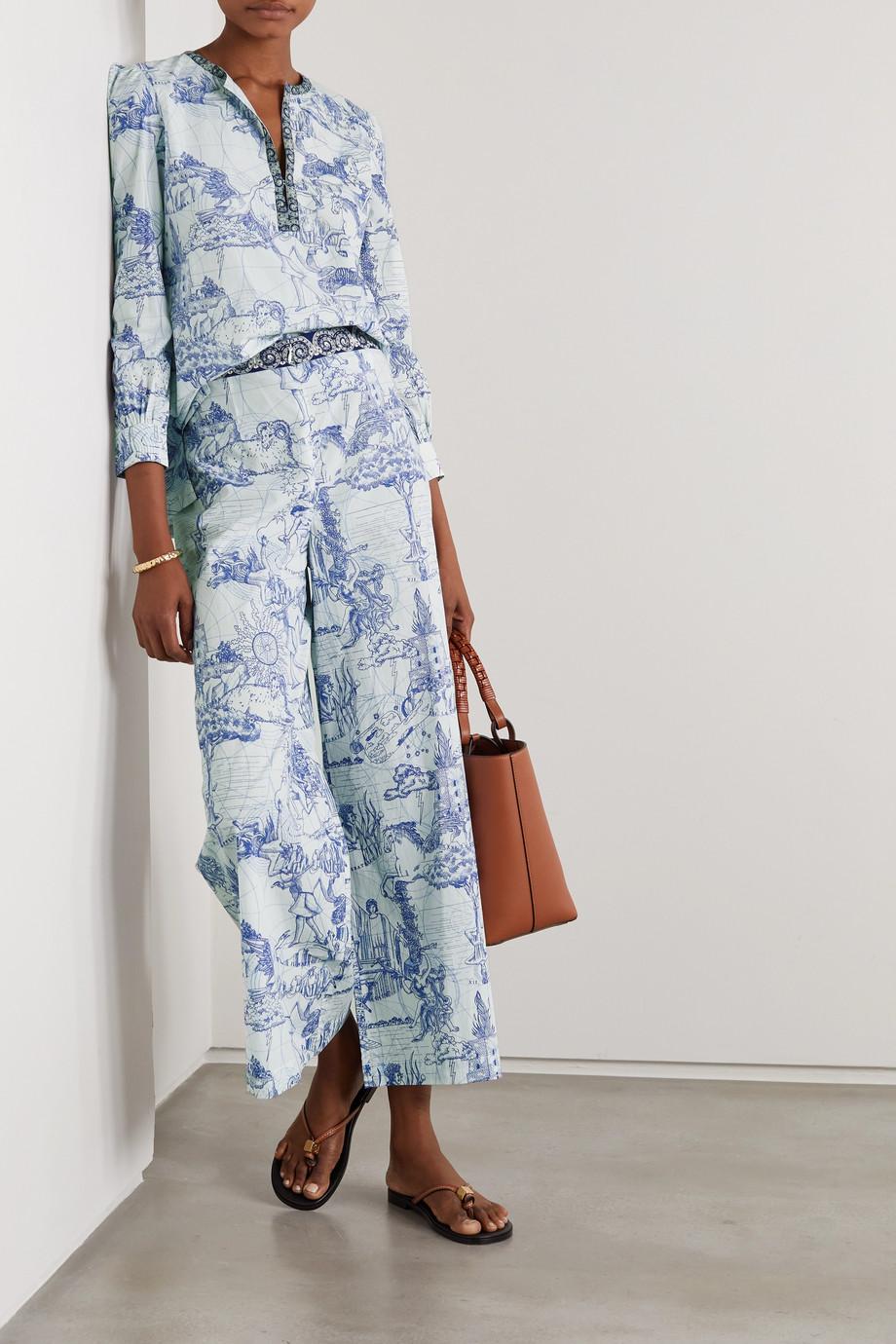 Le Sirenuse Positano Natalie Tarocchi printed cotton-poplin wide-leg pants