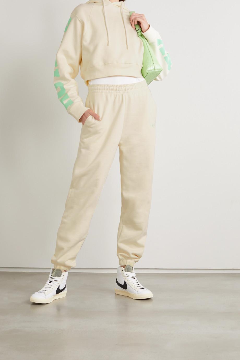 ROTATE Birger Christensen Sweat à capuche raccourci en jersey de coton biologique imprimé Sunday Viola - NET SUSTAIN