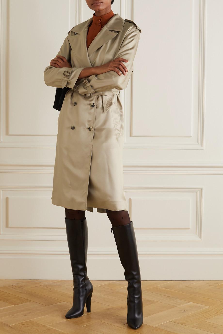 SAINT LAURENT Trench-coat en serge de soie à ceinture