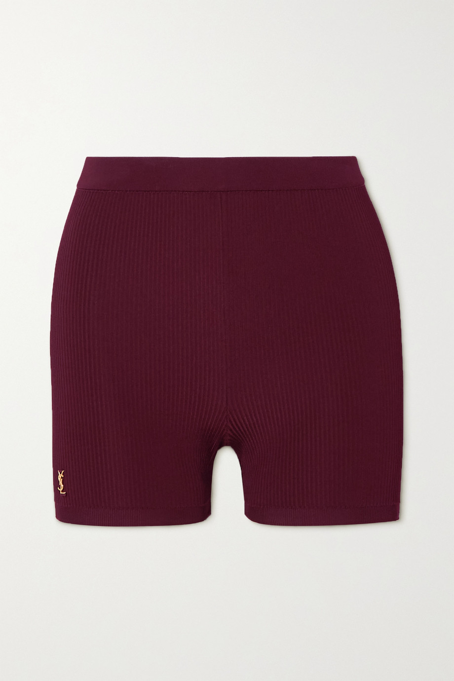 SAINT LAURENT Shorts aus geripptem Stretch-Strick mit Verzierung