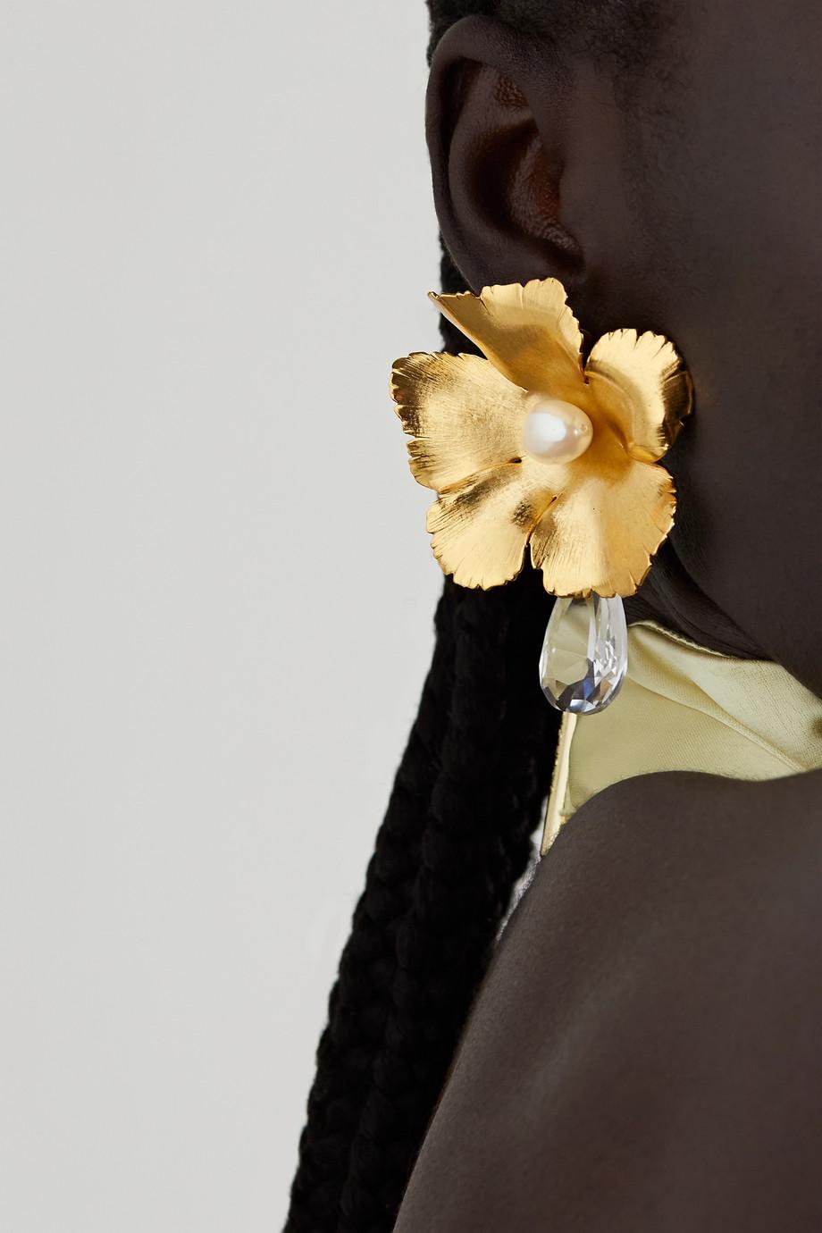 Oscar de la Renta Goldfarbene Oversized-Ohrclips mit Swarovski-Kristallen und Kunstperlen