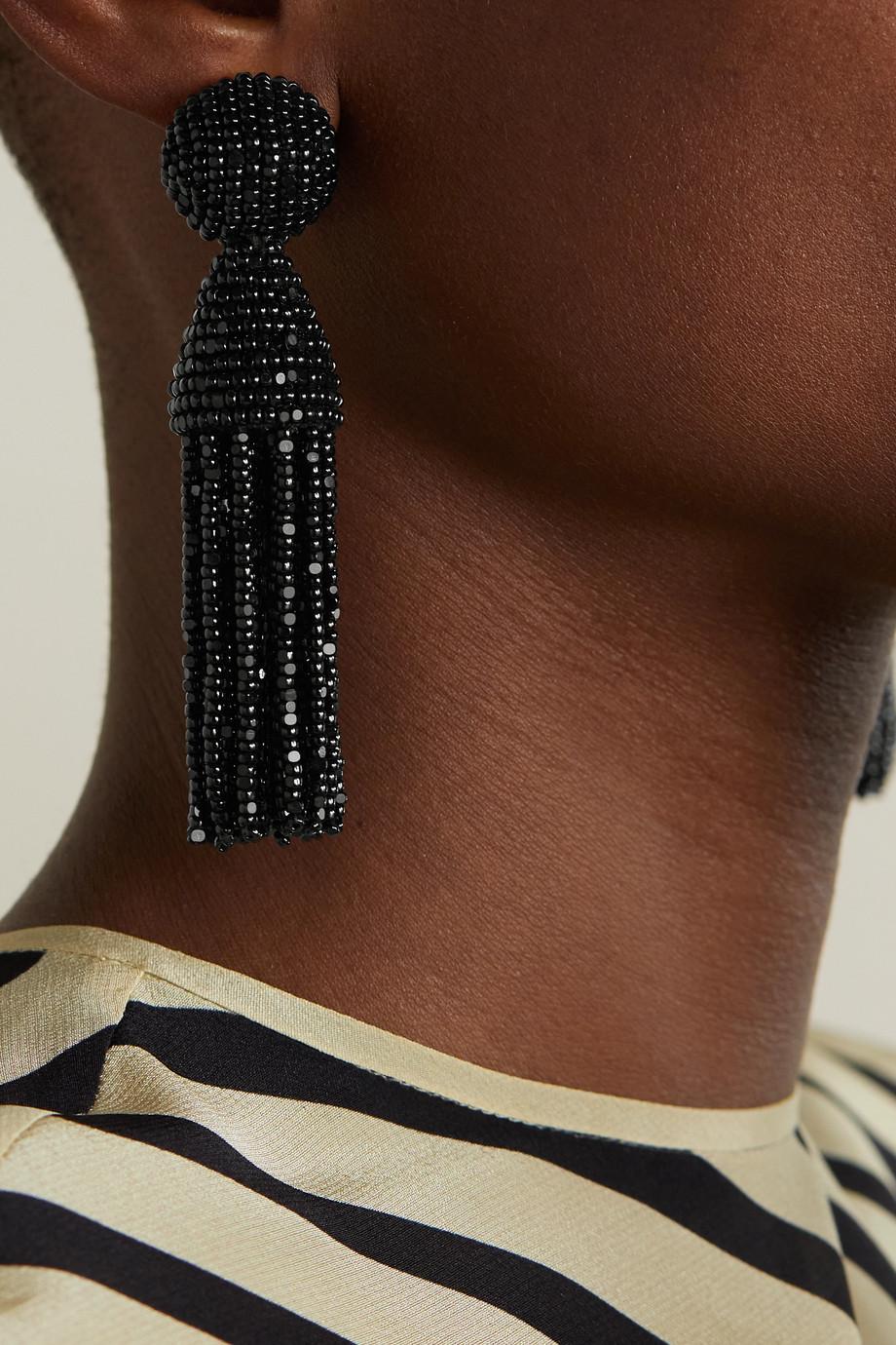 Oscar de la Renta Beaded clip earrings