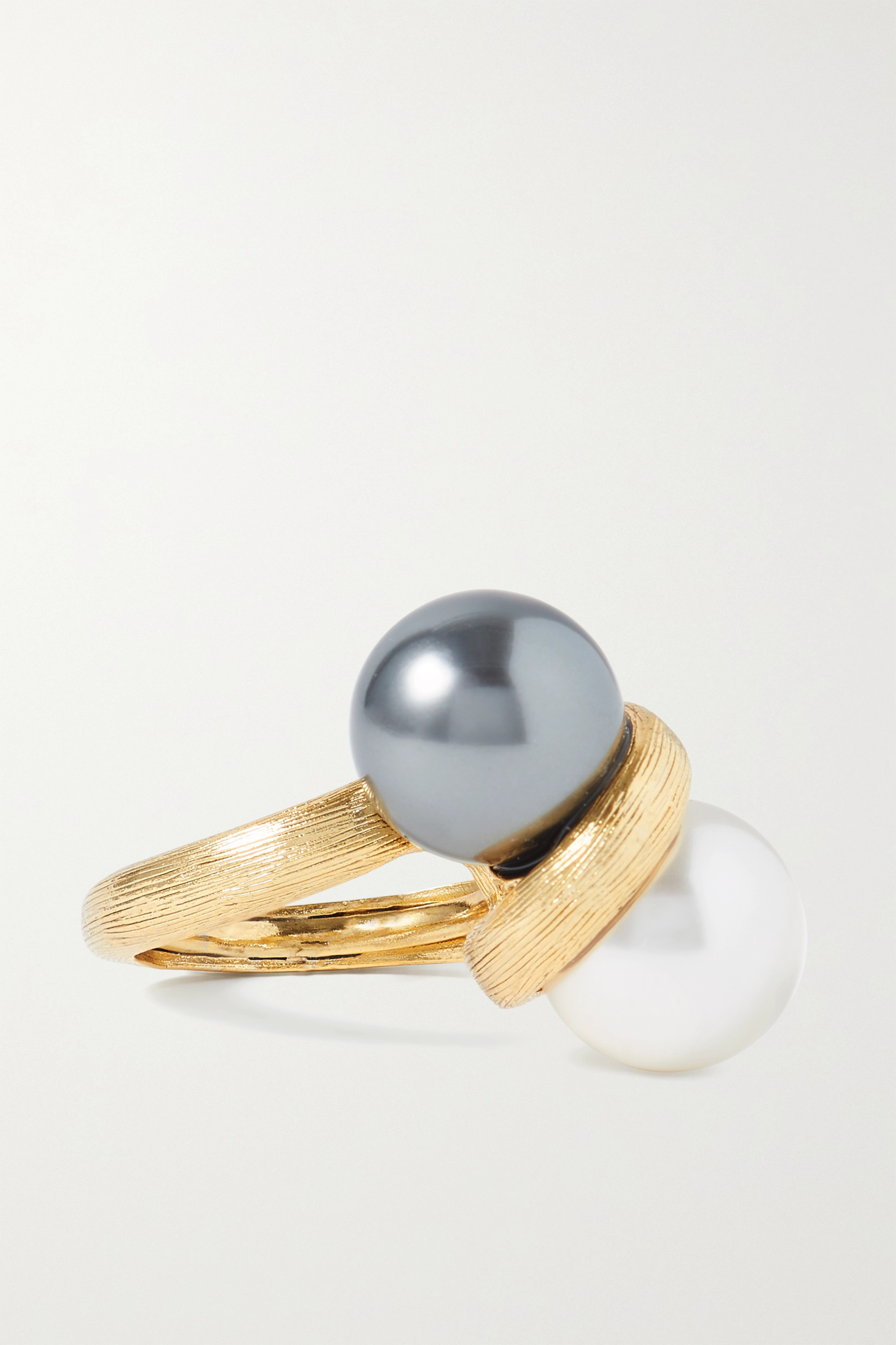 Oscar de la Renta Bague en métal doré et perles synthétiques