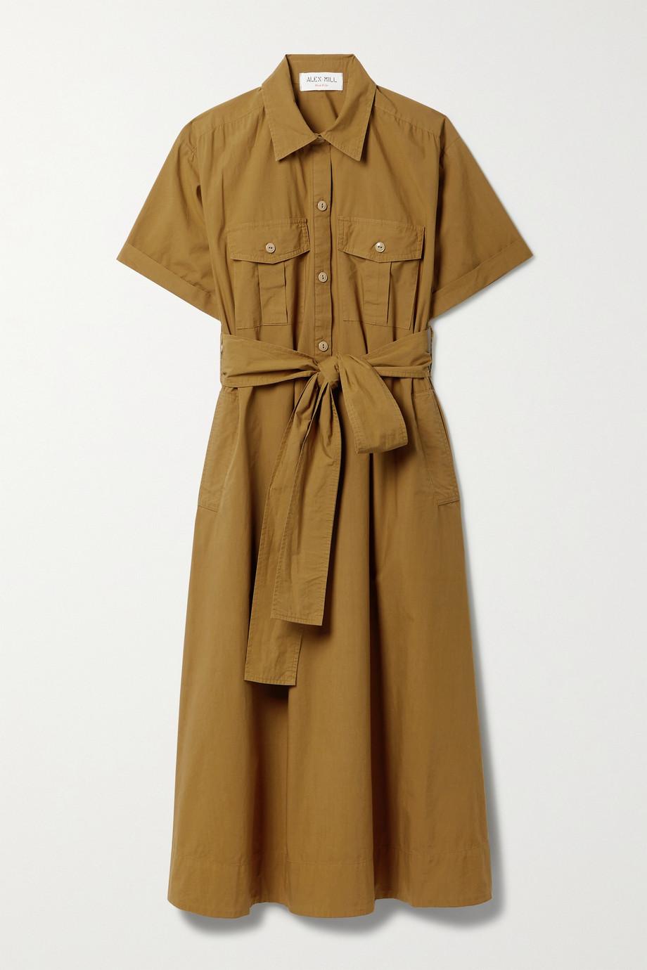 Alex Mill Midi-Hemdblusenkleid aus Baumwollpopeline mit Bindegürtel