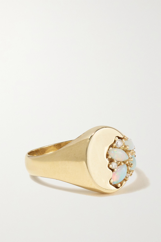 SARAH & SEBASTIAN Chevalière en or, opales et diamants Nymph