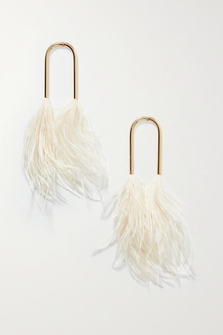 Cult Gaia Meta gold-tone feather earrings