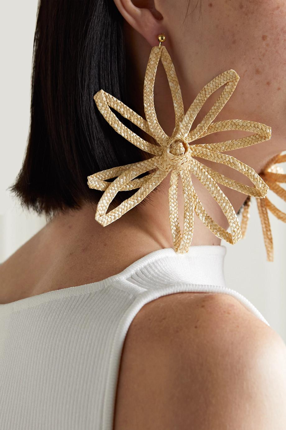 Cult Gaia Lani woven straw earrings