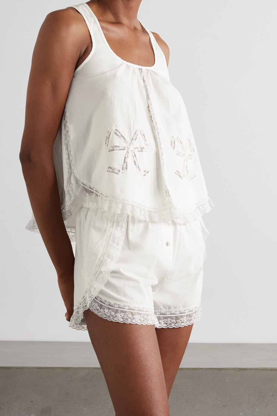 Morgan Lane Bow-detailed lace-trimmed organic cotton pajama set