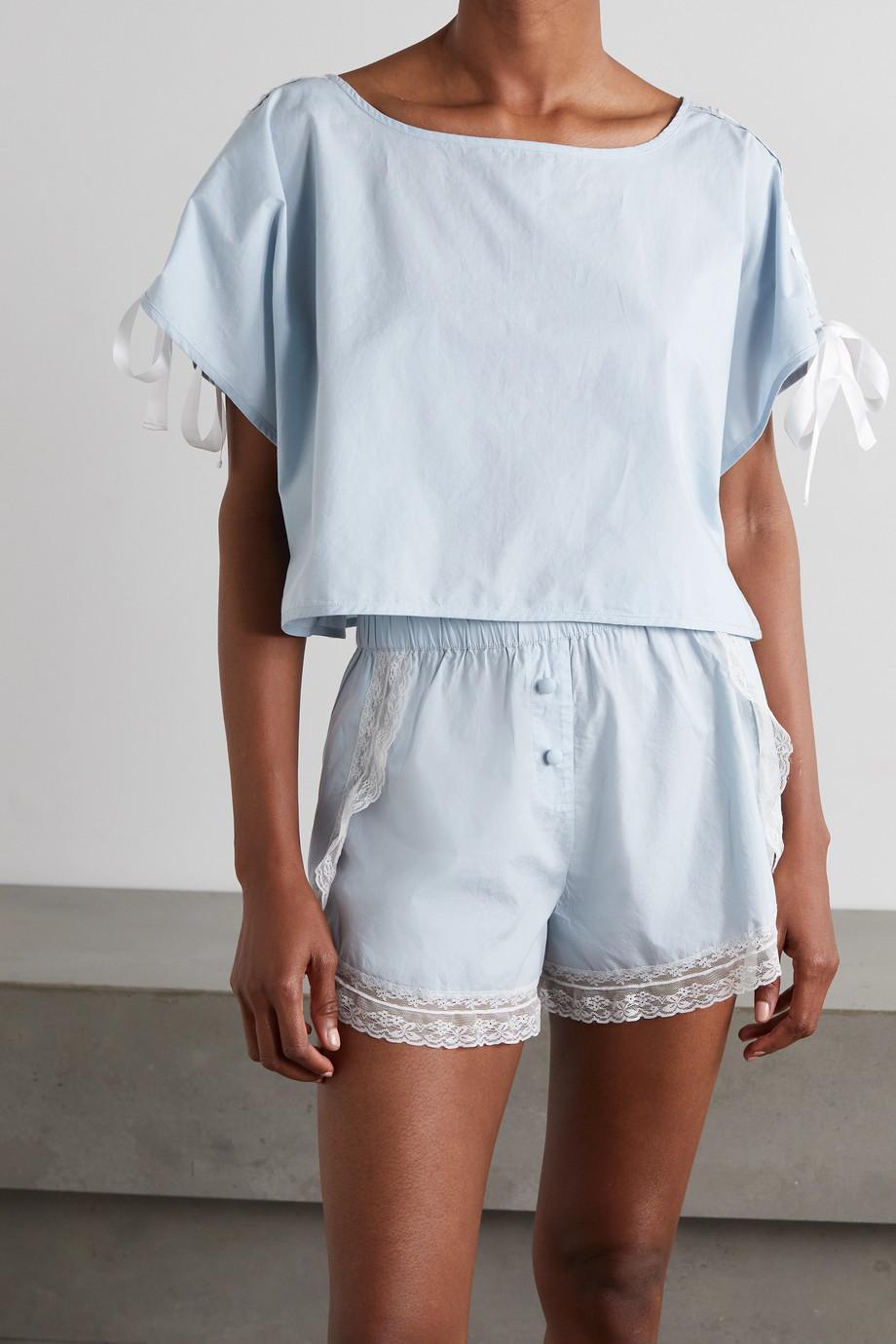 Morgan Lane Pyjama en coton biologique à finitions en dentelle et à nœuds