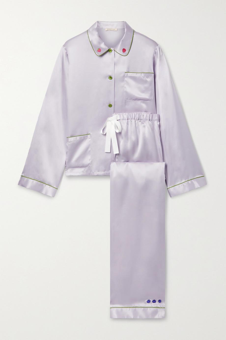 Morgan Lane Pyjama en satin à broderies Ruthie Chantal