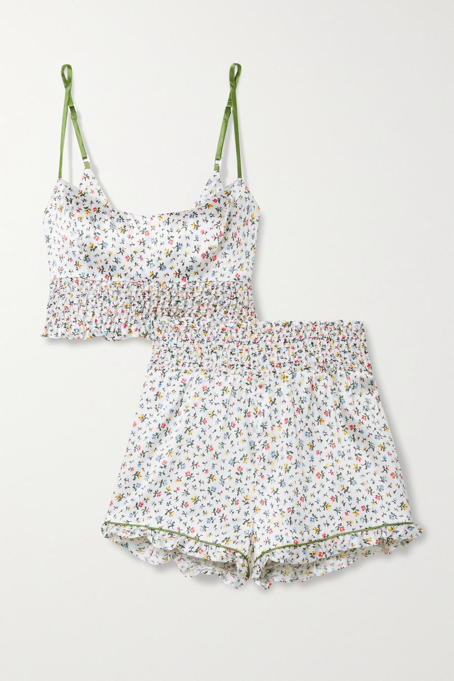 Morgan Lane Pyjama en satin de soie mélangée à imprimé fleuri et à smocks Lia Marta